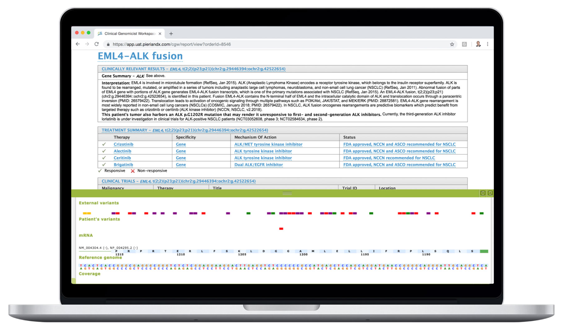 Clinical Genomics Workspace with EML4-ALK Fusion Report and Gene Viewer